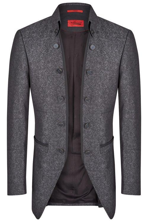 TZIACCO sötétszürke mintás esküvői öltöny zakó 561201-21 Modell 26815-2